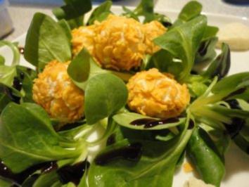 Forellen Pralinen an mariniertem Feld Salat - Rezept