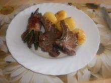 Lamm Koteletts ~ Bohnenpäckchen ~ Rosmarinkartoffeln ~ Dipp mit Knoblauch - Rezept