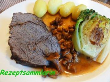 Fleisch:   RINDERBRATEN an Rotweinsauce - Rezept