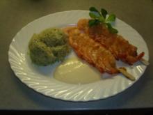 Fischgerichte: Garnelenspieße mit Knoblauchsosse und Kräuterreis - Rezept