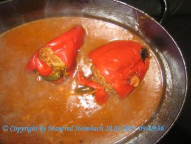Fleisch – Spicy filled red Pepper with beef  - feurig gefüllte Paprikaschote mit Hackfleis - Rezept