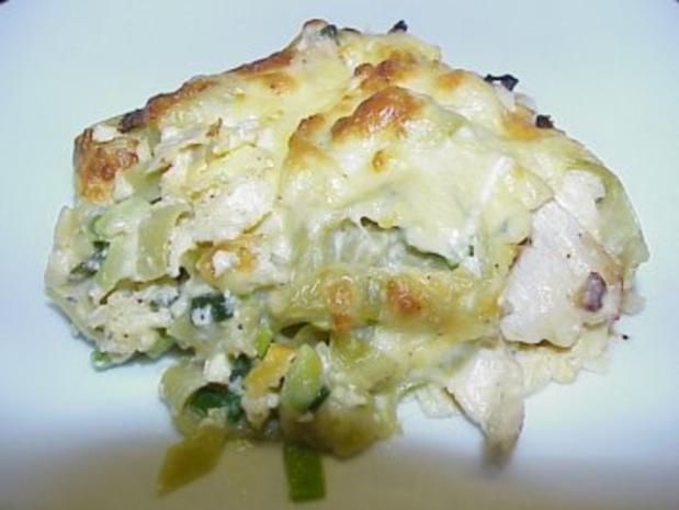 Gratin mit grüner Tagliatelle und Hühnerbrust - Rezept