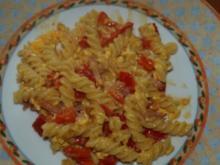 Fusilli mit Paprika-Sahnesoße - Rezept