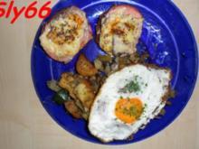 Überbackener Leberkäse mit Gemüse aus dem Wok und Bratkartoffeln - Rezept