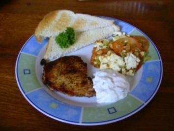 R-G-W gebacken im Ofen, mit Filetsteak & Tzaziki - Rezept