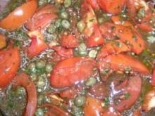 Tomatensalat italienisch  - z.B. als Beilage zu meinen Meeresfrüchte-Cannelloni - Rezept