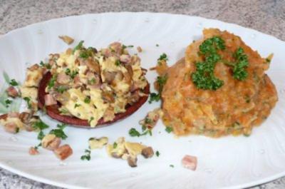 Rezept: ~ Gefüllte Wurstkörbchen an Karotten-Kartoffelmus ~