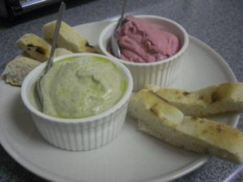 Rezept: Rote Bete Hummus & Baba Ghanoush mit Pita Brot