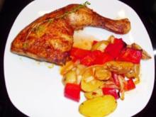 Fleisch: Hähnchenschenkel auf Paprika-Kartoffel-Gemüse - Rezept