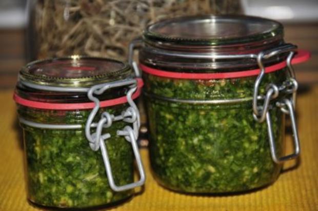 Bärlauchpesto mit Haselnüssen und Pecorino - Rezept - Bild Nr. 3