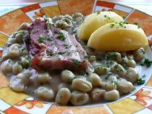 Gemüse: Große Bohnen mit Speck und Salzkartoffeln - Rezept