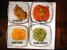 Quatro Risotti Funghi-Safrano-Pomodoro-Aglio-Orsino - Rezept