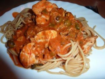Fisch: Seelachs-Muschel-Tomatensoße - Rezept