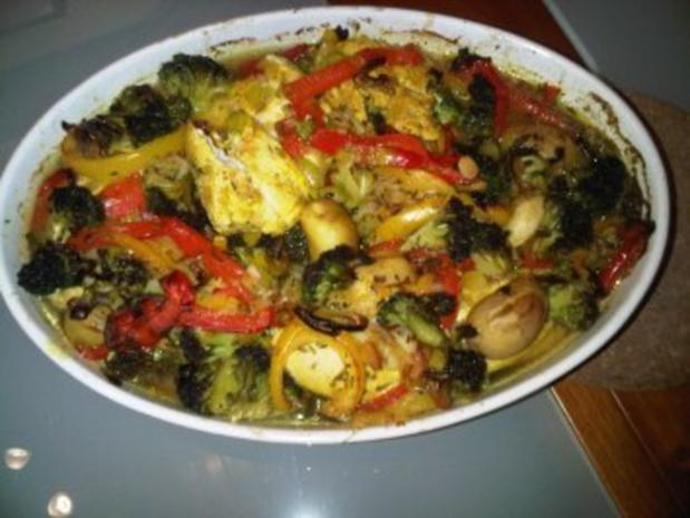 Ofen-Hühnchen mit Gemüse - Rezept