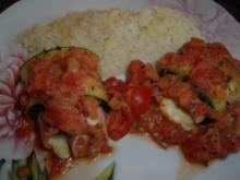 Zucchini-Schinkenröllchen im Ofen gebacken - Rezept