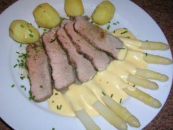 Kalbsrücken, sanft gegart mit Spargel und Sauce Hollandaise - Rezept