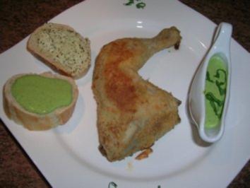 Hähnchenknusperkeulen  mit Bärlauch-Mayonaise - ein lecker,leichtes Frühlingsgericht - Rezept