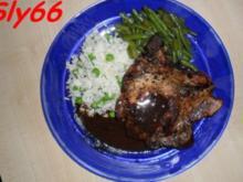 Fleischgerichte:Koteletts mit Erbsenreis und Fisolen - Rezept