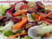 gemischter Frühlingssalat mit gebratener Cabanossi - Rezept