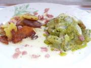Gemüse: Dillgurken mit Zitronenschaumsoße, knusprigen Bratkartoffeln und Schinkenwürfel - Rezept
