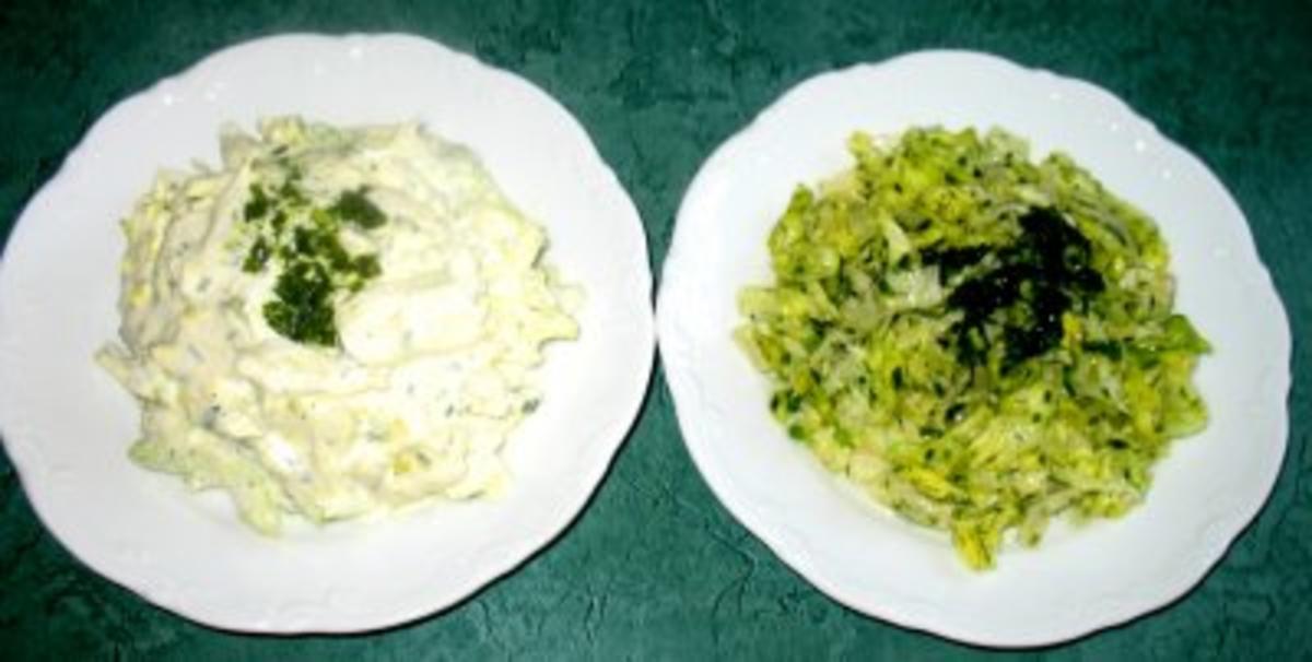 Salat/Beilage - Eisbergsalat ...mit Kräuter-, Schmand- oder Sahnedressing - Rezept By chrissi720