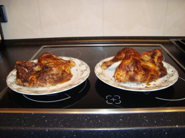 Brathähnchen mit Tomaten-Kopfsalat und frischem Baguette - Rezept - Bild Nr. 5