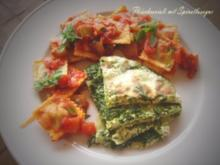 Quark-Spinat-Lasagne und Fleisch-Ravioli - Rezept