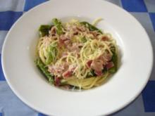 Spaghetti mit Spargel-Carbonara - Rezept