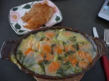 Aufläufe  :  Kohlrabi - Möhren - Auflauf mit Tilapia - Rezept