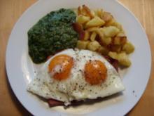 D: Leberkäse mit Bratkartoffeln, Spinat und Spiegelei - Rezept