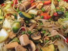 Asiatische Gemüsepfanne (mit Hähnchenfleisch) - Rezept
