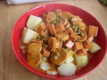 Unsere Restepfanne aus Leberkäse und Weisswürste - Rezept