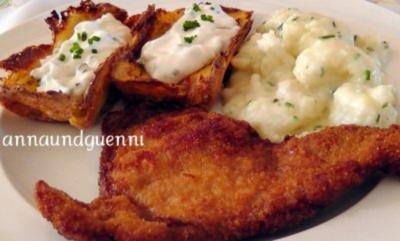 ~Mittagstisch~Schweineschnitzel Wiener Art mit Kartoffelkästchen und Blumenkohl - Rezept