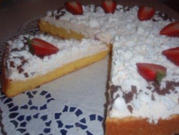 Torte: Biskuit mit Sahne - Erdbeerjoghurt - Rezept