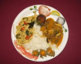 Thai-Curry rot und scharf mit Rinderfilet und Thai-Curry gelb und süß mit Hühnerfilet - Rezept