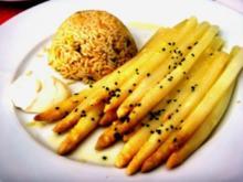 Safran-Spargel mit Curry-Reis - Rezept