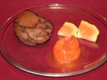 Lauwarmer Schokoladenkuchen und Wassermelonen-Sorbet - Rezept