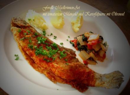 Forelle-Muellerinnen-Art mit tomatiertem Mangold und Kartoffelpuerrée mit Olivenoel - Rezept