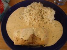 Gebratener Lachs mit Dill-Käse-Sahnesauce - Rezept