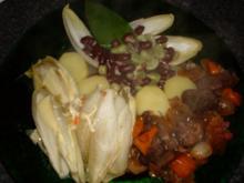 Gulasch mit Paprika und  Bohnen-Duo..., - Rezept