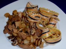 Filet-Pilz-Spargel-Pfanne mit bunten Nudeln - Rezept