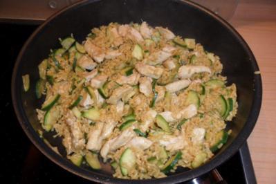 Putenfleisch mit Zucchini und Reis - Rezept