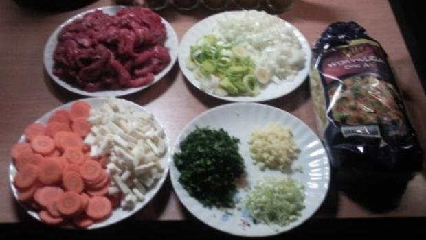 Gemüse, Rindfleisch und Nudeln aus den Wok - Rezept - Bild Nr. 5
