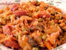 deftige Reispfanne mit geräuchertem Hähnchenfleisch - Rezept
