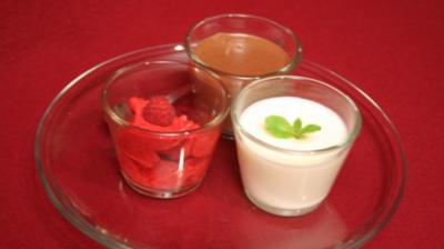 Buttermilchcreme, Mousse au chocolat und Himbeersorbet - Rezept