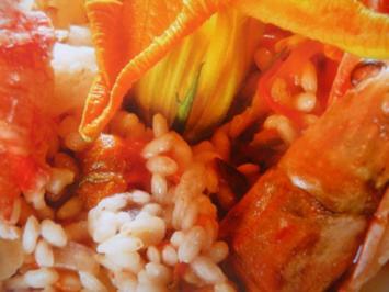 Risotto mit Scampi und Zucchiniblüte - Rezept