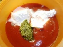 Tomaten-Basilikumsauce mit Crème fraîche-kalt angerührt zum Überbacken von Pasta - Rezept