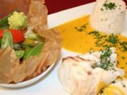 Zander in Salzkruste mit Safran-Weißweinsoße, dazu Basmatireis und Gemüse - Rezept