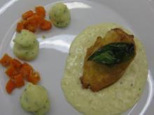 Champignon-Hähnchenbrust auf Kräuter-Kartoffelpüree und Ingwerkarotten - Rezept