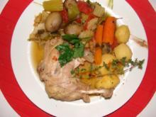 Geflügel : -Hühnerbeine im Gemüsegarten - - Rezept